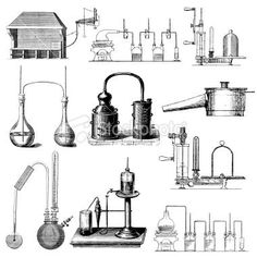 Chemical Laboratory Equipment | Antique Chemistry Poster: