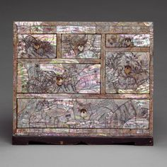 Small Chest of Drawers with Decoration of Flowers, Birds and Insects incised in mother of pearl  late Joseon dynasty (1392–1910)