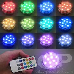 - LED Decorative Disk Light with Remote Control! - Includes 10 Bright LED Lights and 15 Color Settings! - Use as a Decor Light, Drink Coaster or Party Light! - Create Amazing Light Up Centerpieces! Led Party Lights, Led Tea Lights, Led String Lights, Fairy Lights, Glow Stick Party, Glow Sticks, Lighted Centerpieces, Light Decorations, Decoration Party