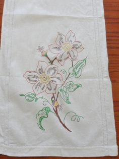 Shabby Cottage Faux Fireplace | Vintage Faux Embroidered Shabby Floral Cottage Chic Table Runner ...