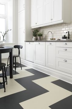 New White Kitchen Floor Tiles . All Tile New Kitchen Floor Tile Designs Kitchen Flooring Checkered Floor Kitchen, White Kitchen Floor, Modern Kitchen Tiles, Kitchen Redo, New Kitchen, Kitchen Remodel, Kitchen Design, Neutral Kitchen, Kitchen Black