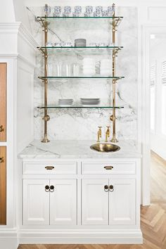 The Fox Group. 20 Kitchen Design Ideas to Inspire your own kitchen renovation, makeover, DIY, spruce up, or brand new kitchen! Score decorating ideas and style inspiration on Hello Lovely Studio. Kitchen Ikea, Kitchen Shelves, Pipe Shelves, Glass Kitchen, Kitchen Cabinets, Wall Shelves, Bar Cabinets, Display Cabinets, China Cabinets