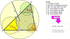 Geometry Problem 143. Four Triangles, Incircle, Tangent and Parallel to Side, Circumradii.School, College, Math Education.