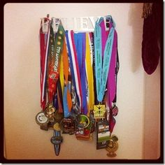 super cute way to display race medals
