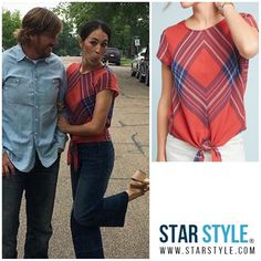 Joanna Gaines from HGTV's Fixer Upper wore a Cloth & Stone plaid tie top from Anthropologie