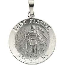 Round St Florian Pendant in Solid 14 Karat White Gold Protect Us Medal - All Patron Saints St Florian, Jewelry Gifts, Fine Jewelry, Gold Medallion, Patron Saints, Religious Jewelry, Types Of Metal, Precious Metals, Jewelry Design