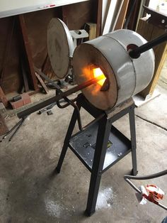 Propane forge a friend and I built Forging Knives, Forging Tools, Blacksmithing Knives, Forging Metal, Metal Welding, Build A Forge, Diy Forge, Homemade Forge, Homemade Tools
