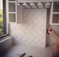 Meredith Heron Design, chevron subway tile backsplash