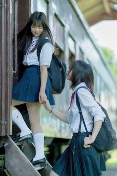 Japanese schoolgirls burn the summer