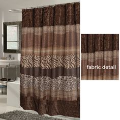 Brown zebra striped shower curtains