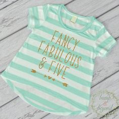 Fancy, Fabulous and Five, Fifth Birthday Shirt - This adorable high-low short sleeve top makes a great birthday outfit or photo prop! It features an all-over stripe print for a fun chic look. It's mad More