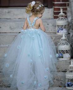 Blue Tulle A-Line Flower Girl Dresses, Backless Popular Little Girl Dresses, Little Girl Princess Dresses, Pretty Flower Girl Dresses, Prom Girl Dresses, Tulle Flower Girl, Tulle Flowers, Party Dresses, Short Dresses, Wedding Dresses, Blue Frock