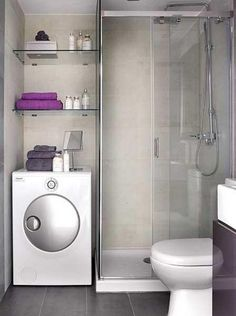 Small Bathroom With Washing Machine : Best Small Simple Bathroom Design Ideas With Shower Stone Flooring And Small Bathroom With Washing Machine. bathroom,machine,small,washing,with Beautiful Small Bathrooms, Very Small Bathroom, Modern Small Bathrooms, Simple Bathroom Designs, Modern Laundry Rooms, Laundry Room Bathroom, Tiny House Bathroom, Bathroom Design Small, Bathroom Layout