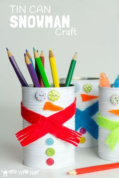TIN CAN SNOWMAN CRAFT - Kids will love recycling tin cans into Snowman Desk Tidies or a Snowman Bowling Game with this cute and easy Tin Can Snowman Craft.