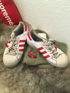 100% authentic e68dd afb0d adidas Size 9.5 Men Originals Superstar Foundation White Red Classic B27139   fashion  clothing
