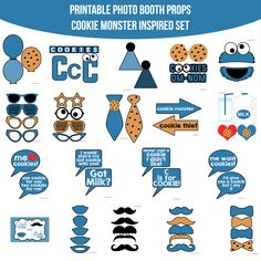Instant Download Cookie Monster Inspired Printable Photo Booth Prop Set — Amanda Keyt DIY Photo Booth Props & More!