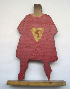 Folk Art Handmade Superman (Reverse) Dated 1941 Original Paint collection Jim Linderman Dull Tool Dim Bulb