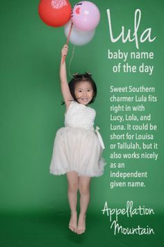 Love sweetly #Southernbabynames? Retro, sassy Lula might belong on your list of #girlnames. Lula shares sounds with popular #babynames like Lily, Luna, and Lola, but has an independent history and a distinctive style.
