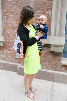 Love this neon lace dress paired with the sporty mesh jacket!