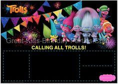 picture relating to Trolls Printable Invitations called Trolls Get together