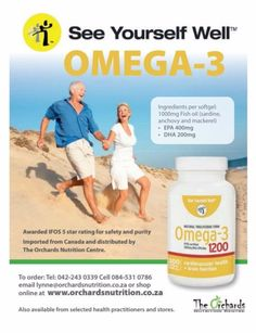 Omega–3 is the most important essential nutrient that our diet lacks. The fish oil used in See Yourself Well Omega-3 supplements has been awarded the IFOS 5 star rating.  http://www.orchardsnutrition.co.za/  #omega3