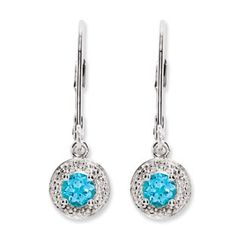 Round Blue Topaz December Birthstone Diamond Leverback Sterling Silver Earrings - Gemologica, A Fine Online Jewelry Store  Posted to the Stufflicious.com community storefront by gemologica. Buy it directly from gemologica.com for $70 today. #Earrings #Accessories #Womens #Apparel #Fashion #Style #Bling #Bling