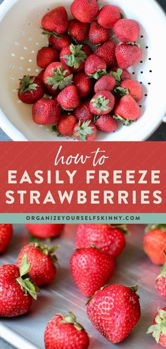 How to freeze strawberries – my simple step by step instructions for freezing fresh strawberries so you can stock up when in season to enjoy them all year-round. Freezing is also a great way to save strawberries before they turn bad. Organize Yourself Skinny | Cooking Tips | Freezer Tips | Meal Prep Tips | Healthy Meal Prep | Healthy Eating | Meal Planning Make Ahead Freezer Meals, Freezer Cooking, Easy Cooking, Healthy Cooking, Cooking Tips, Strawberry Kale Smoothie, Strawberry Banana Bread, Strawberry Recipes, Healthy Eating Meal Plan
