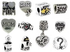 Timeline Trinketts Antique Silver Charm Bracelet Beads Fits Pandora Jewelry Spacers - Mom