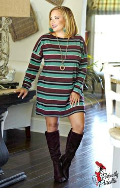 Before I Do Striped Dress/Tunic - Jade/Plum - Source by - Curvy Girl Lingerie, Plus Size Leggings, Cape Dress, Fall Winter Outfits, Striped Dress, Plus Size Outfits, Dresses With Sleeves, Office Attire, Palazzo Pants