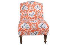 Clark Armless Chair, Orange/Blue