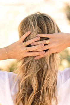 Nesa Ring to Wrist Bracelet // Textured G Rings // Elle Shimmer Tassel Ring