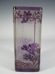 Art Nouveau Cameo Glass Vase, ca. probably French, the vase decorated with morning glory vines in green and mau. on Mar 2016 Art Nouveau, Art Deco, Morning Glory Vine, Baccarat Crystal, Antique Show, Cameo, Antique Auctions, Arts And Crafts Movement, Shades Of Purple