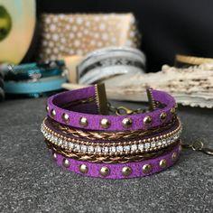 Bracelet manchette violette bronze et dorée  par Stormglitter