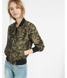 New Ladies Khaki Military Camouflage Zipper Padded Bomber Jacket Coat 8-16