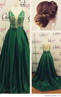 A long green dress with a lovely low updo