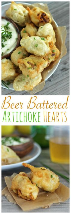 3 Ingredient Beer Battered Artichoke Hearts. A delicious vegan appetizer.