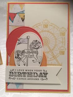 Stampin mit Scraproomboom: Thailand Achievers Blog Hop December Boy Cards, Kids Cards, Stampin Up Carousel Birthday, Beautiful Handmade Cards, Banner, Happy Birthday Cards, Homemade Cards, Stampin Up Cards, Cardmaking
