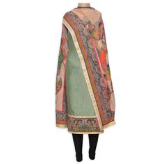 Elegant fern green unstitched suit adorn in egyptian printing-Mohan's the chic window