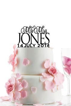 Benutzerdefinierte Hochzeitstorte Topper - personalisierte Monogramm Cake Topper - Herr und Frau - Kuchen Dekor - Braut und Bräutigam