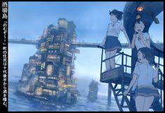 帝國少年 テイコクショウネン Architecture Background, Japanese Artwork, Anime Art Fantasy, Animation Background, Urban Sketching, Anime Artwork, Anime Scenery, Concept Art, Illustration Art