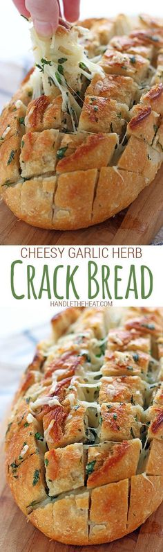 Cheesy Garlic Herb Crack Bread. So cheesy, buttery, and flavorful!! Crowd pleasing recipe.