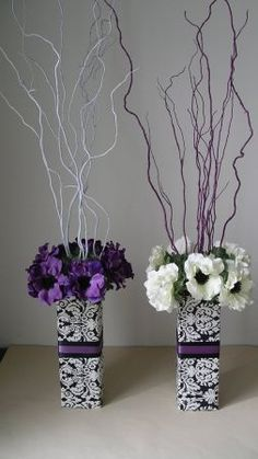 Elegant DIY Pearl and Candle Centerpieces Black Centerpieces, Pearl Centerpiece, Purple Wedding Centerpieces, Candle Centerpieces, Wedding Decorations, Event Decor, Purple And Black, Wedding Table, Flower Art