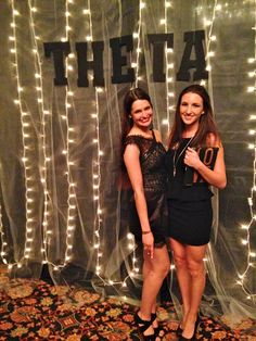 "idea for the two walls that do not face the door.. on this wall would be ""Chi Omega..Your's Forever"" and other crafts.. also we will be wearing black cocktail dresses"