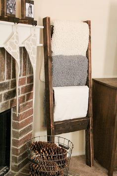 This inexpensive ladder is a fun, chic way to display your blankets. Choose from a variety of stain colors to further personalize this type of decor.
