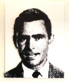Rod Serling portrait - The Twilight Zone perler beads by kylemccoy Perler Bead Designs, Fuse Beads, Perler Beads, Creepy, Art Pictures, Art Pics, Cat Crafts, Photorealism, Beading Patterns