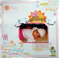 Jennie made this cute scrapbook page with stamps from Tag You're It - Set One and Set Two from JoysLife.com