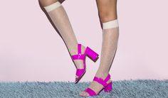 Lola Heel + Sheer Calf-High Polka Dot Sock! #AmericanApparel #shoes #heels #spring #pastel