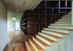 estante, escada.