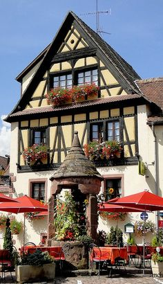"""Joseph Abhar - Colmar , Alsace, France capital of Alsatian wine, known for its quaint canals and as """"Little Venice"""", with Cobblestone street. Casas Tudor, Places Around The World, Around The Worlds, Beautiful World, Beautiful Places, Places To Travel, Places To Visit, Beau Site, Ville France"""