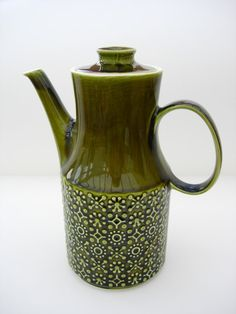 Retro Deep Green Coffee Pot 1970s Ceramic by RaggleTaggleHawker, £15.00